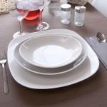 Lot de 6 assiettes gondoles porcelaine blanche - L 21 cm - Tivoli