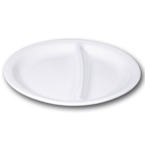Assiette blanche 2 compartiments - D 26 cm