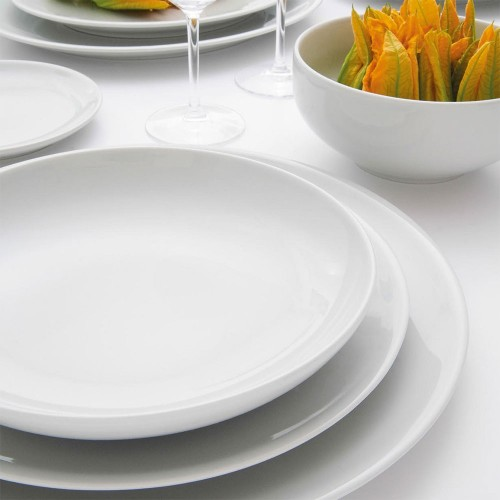 Assiette creuse porcelaine blanche - D 22 cm - Siviglia