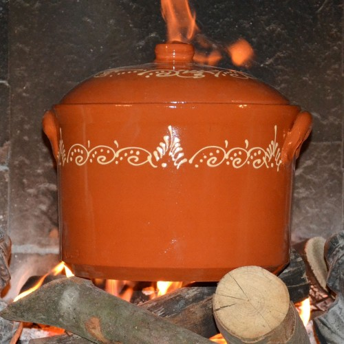 Marmite de cuisson de 9 L en terre cuite décorée