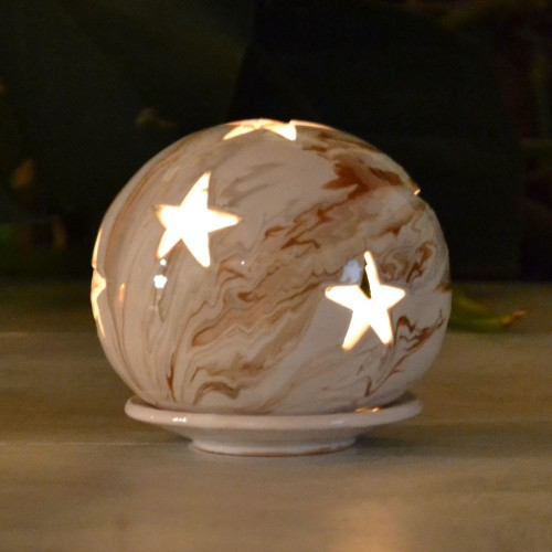Photophore boule Marbré marron gris et blanc - Petit Modèle