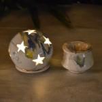 Photophore boule Marbré bleu, jaune et blanc - Grand Modèle
