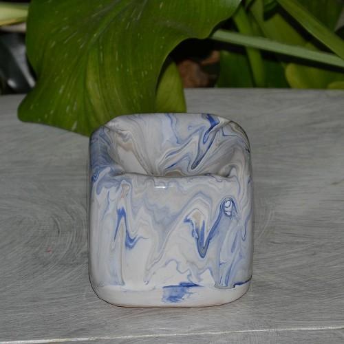 Cendrier anti fumée Cube marbré bleu, gris et blanc