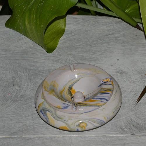 Cendrier marocain Anis marbré jaune, bleu et blanc Moyen Modèle