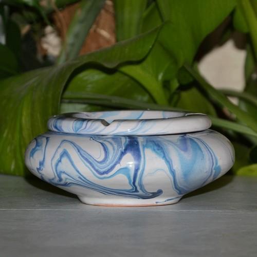 Cendrier marocain Anis marbré bleu et blanc Moyen Modèle