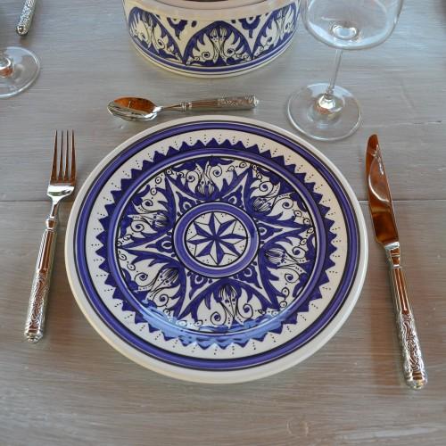 Lot de 6 assiettes plates Nejma bleu - D 24 cm