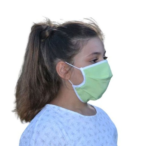 Masque Grand Public filtration supérieur à 90% Vert et Rose - Lot de 2