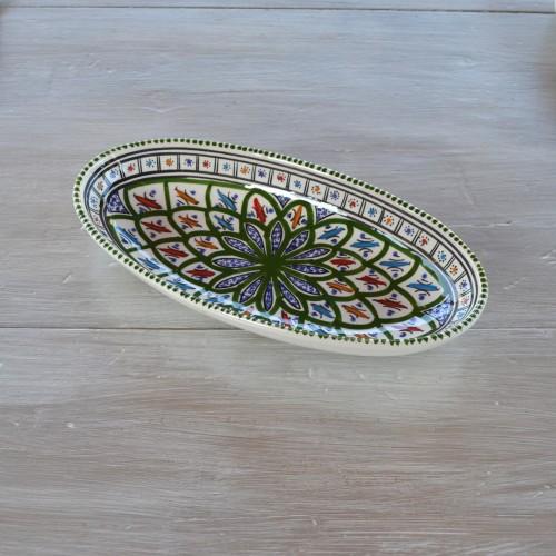 Plat ovale Bakir vert - L 20 cm