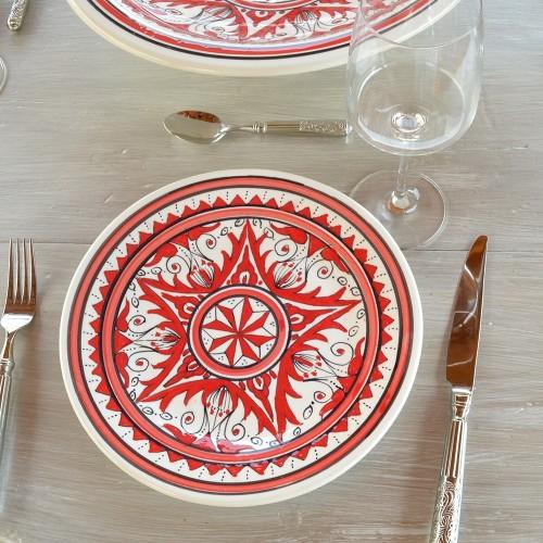 Lot de 6 assiettes plates Nejma rouge - D 28 cm