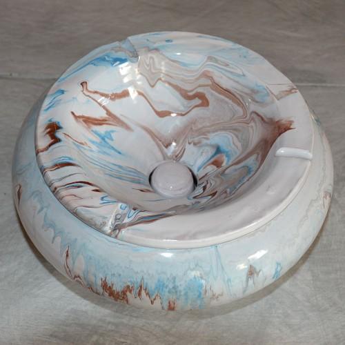 Cendrier anti fumée Géant marbré bleu marron et blanc D30 cm