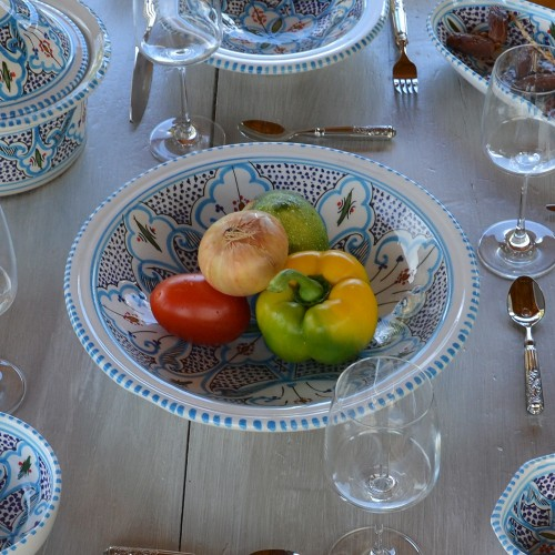 Plat Tebsi Marocain turquoise - D 27cm