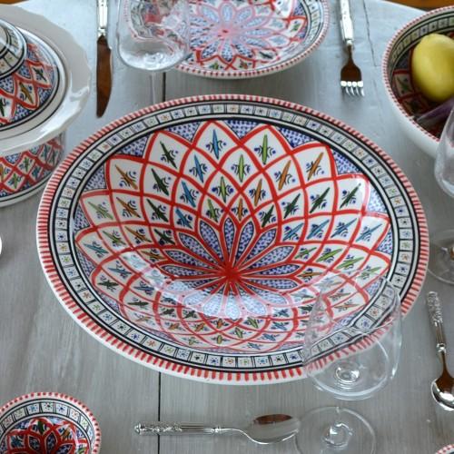 Lot de 6 grandes assiettes creuses Tebsi Bakir rouge - D 27 cm