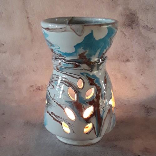 Brûle parfum Marbré marron, bleu et blanc - Grand Modèle