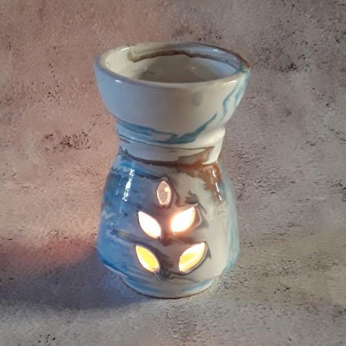 Brûle parfum Marbré marron, bleu et blanc - Petit Modèle