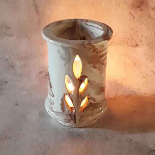 Brûle parfum Droit Marbré marron et blanc