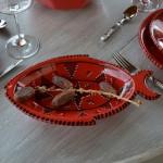 Plat poisson Tatoué rouge - L 33 cm