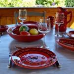 Assiette plate Tatoué rouge - D 24 cm