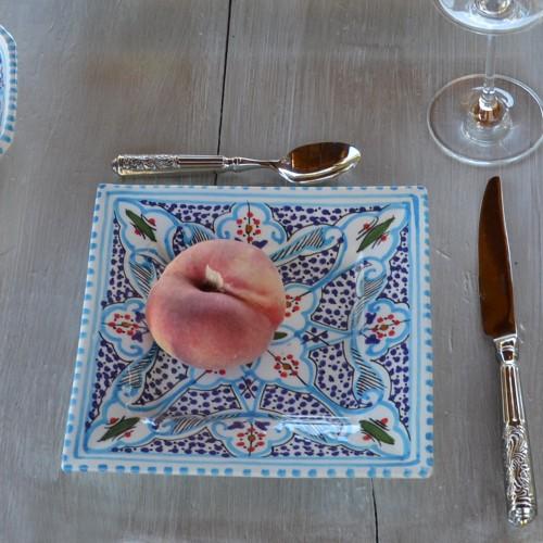 Assiette carrée Marocain turquoise - L 19 cm