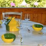Service à soupe Kerouan jaune et vert - 6 pers