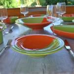 Assiette Tebsi Kerouan orange et vert - D 23 cm