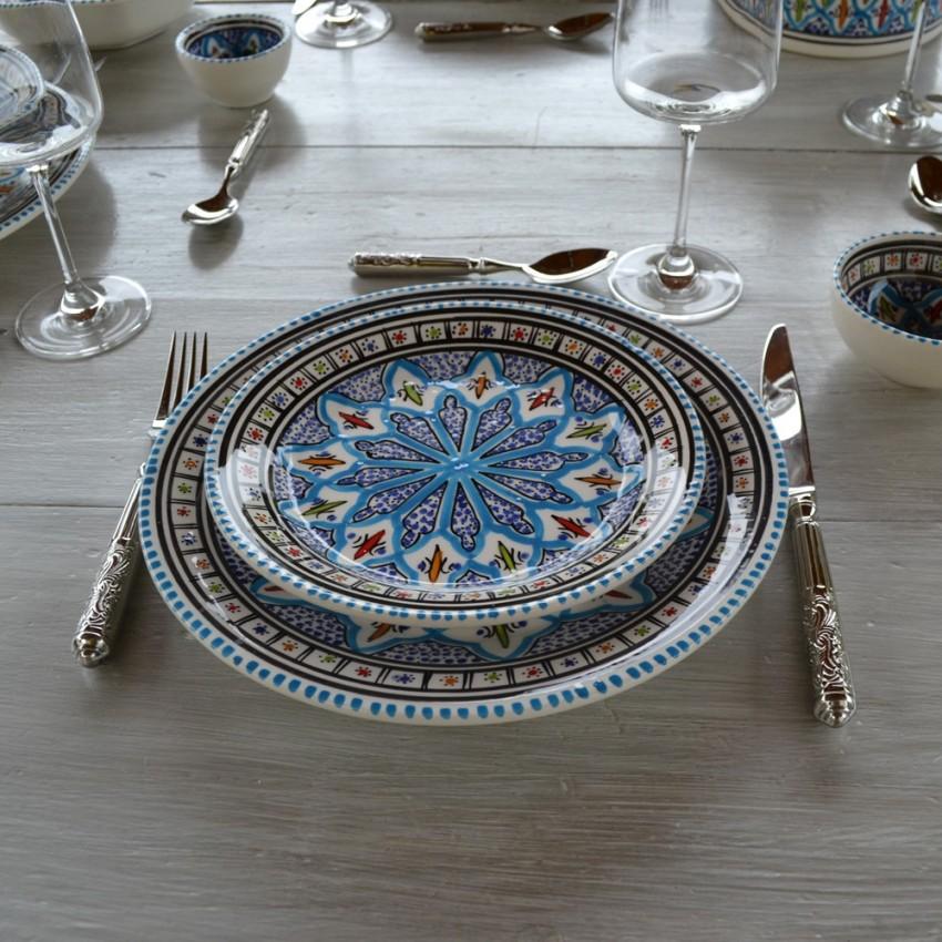 Lot de 6 assiettes à entrée ou dessert Bakir turquoise - D 20 cm