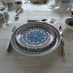 Lot de 6 assiettes plates Bakir turquoise - D 24 cm