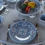 Lot de 6 assiettes plates Marocain turquoise - D 28 cm