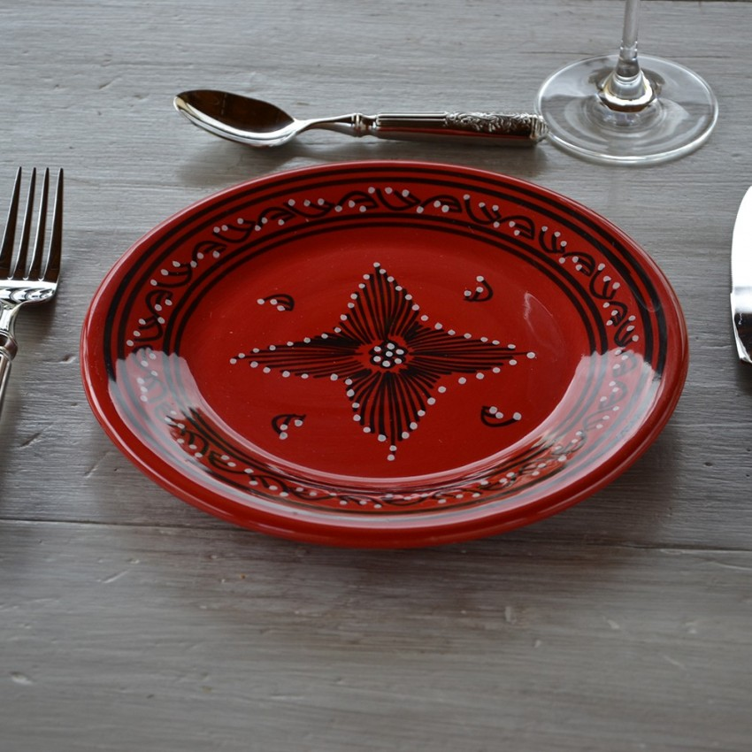 Lot de 6 assiettes plates Tatoué rouge - D 24 cm