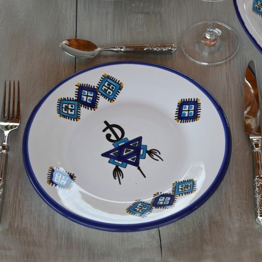 Assiette à entrée ou dessert Sahel bleu - D 20 cm