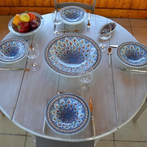 Service à couscous assiettes Tebsis Bakir turquoise - 12 pers