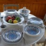 Service à couscous assiettes creuses Bakir turquoise - 12 personnes