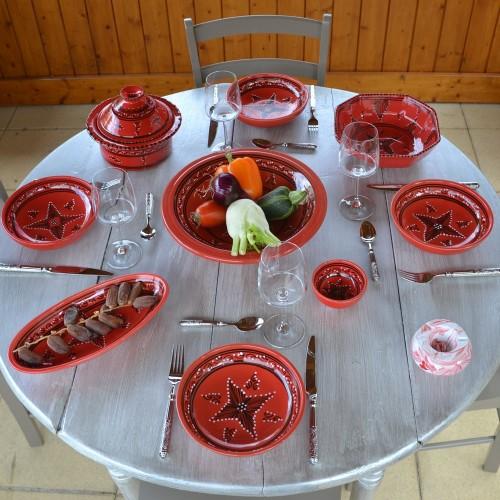Service à couscous assiettes jattes Tatoué rouge - 12 pers