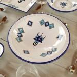Service à couscous assiettes Tebsi Sahel bleu - 6 pers