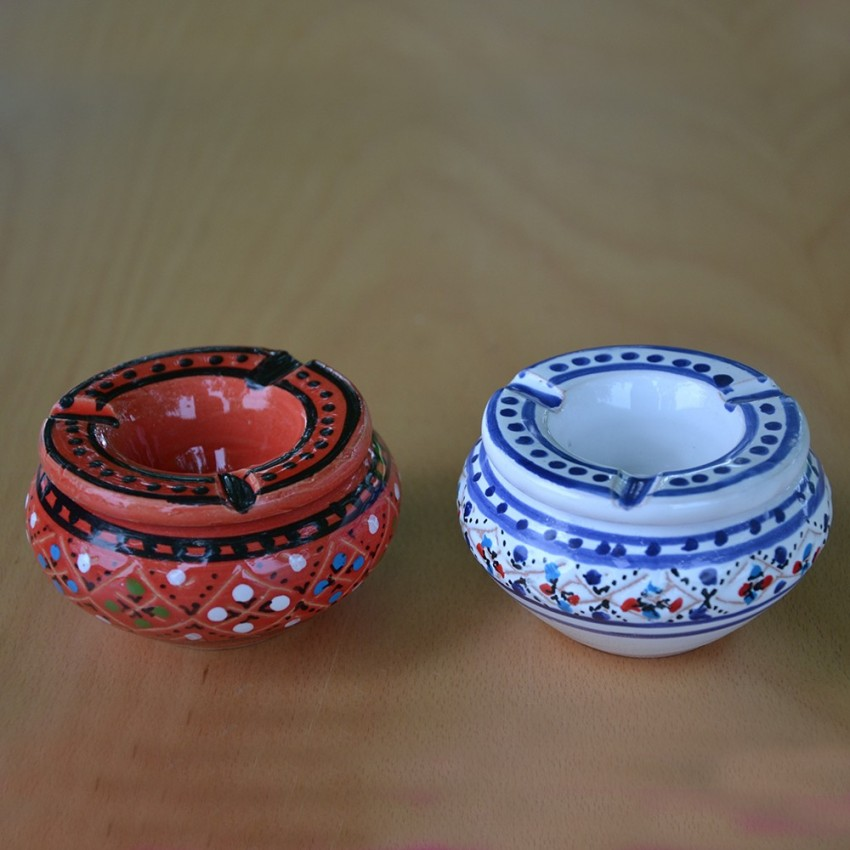 Lot 2 mini cendriers Marrakech Rouge et Blanc