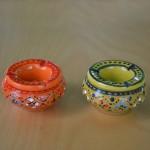 Lot de 2 mini cendriers Marrakech Orange et Vert