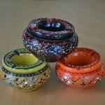 Lot 3 mini cendriers Marrakech Noir, Vert et Orange
