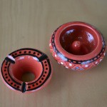 Lot de 3 mini cendriers Marrakech Rouge, Noir et Orange