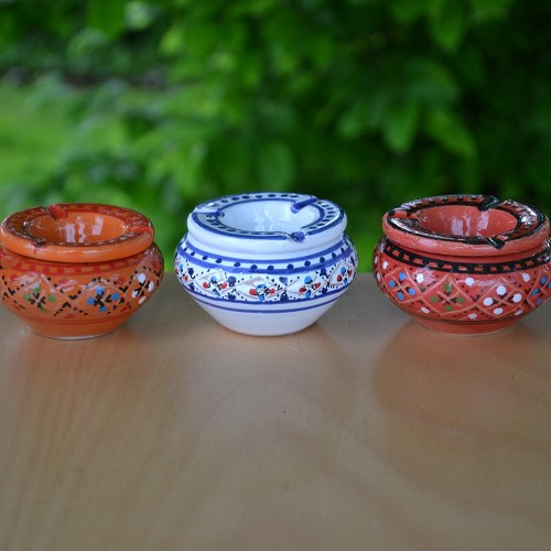 Lot 3 mini cendriers Marrakech Rouge, Orange et Blanc