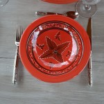 Lot de 6 assiettes Tebsi Tatoué rouge - D 23 cm