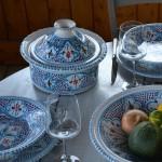 Service à couscous Marocain turquoise assiettes creuses - 8 pers
