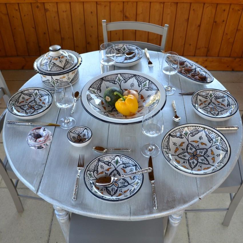 Service à couscous assiettes jattes Marocain noir - 8 pers