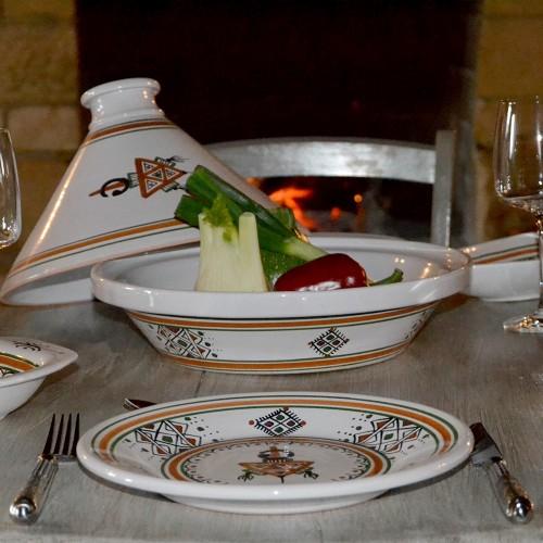 Lot de 6 assiettes plates Sahel beige - D 24 cm