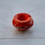 Lot de 2 cendriers anti fumée rouge et orange - Mini modèle