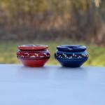 Lot de 2 cendriers anti fumée bleu et rouge - Mini modèle