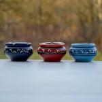 Lot de 3 cendriers anti fumée bleu clair, bleu fonçé et rouge - Petit modèle