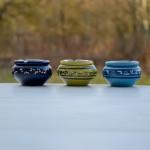 Lot 3 mini cendriers Tatoué Bleu nuit, Vert et Bleu