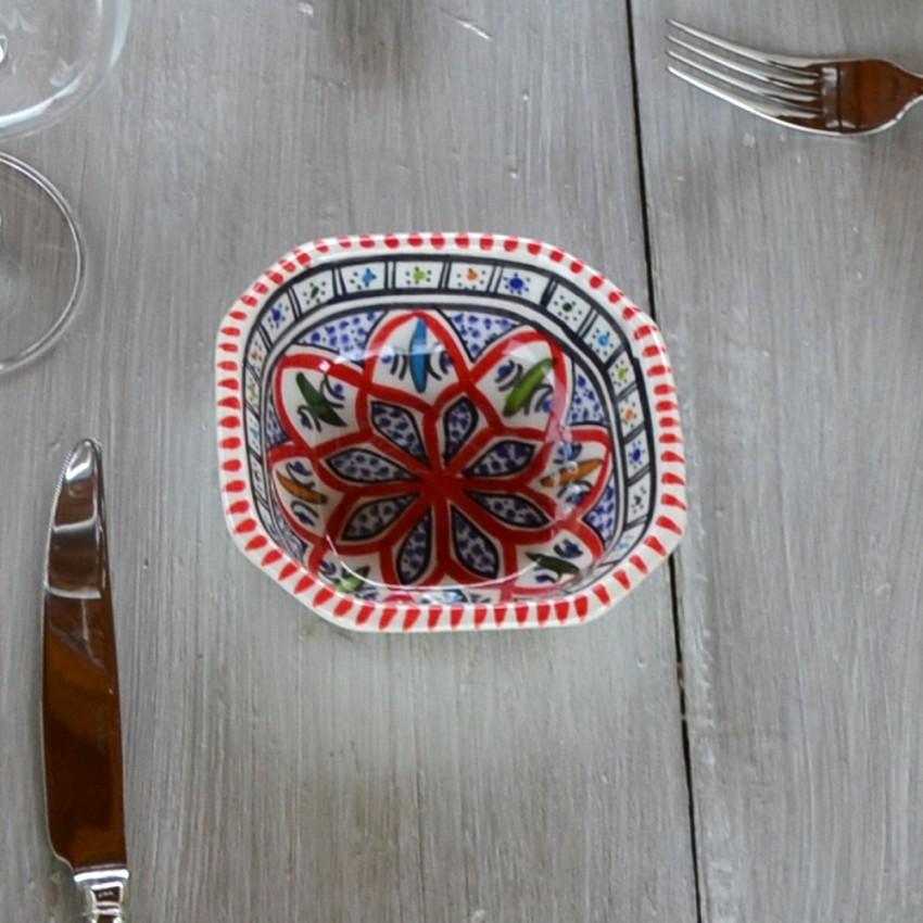 Plat octogonal Bakir rouge - L 11 cm