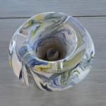 Cendrier anti fumée marbré blanc jaune et bleu - Grand modèle