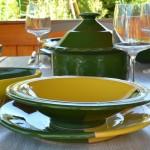 Lot de 6 assiettes plates Kerouan Jaune et Vert 24 cm
