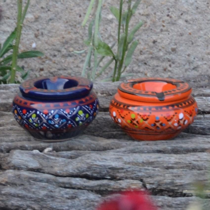 Lot 2 mini cendriers Marrakech bleu nuit et orange - Mini modèle